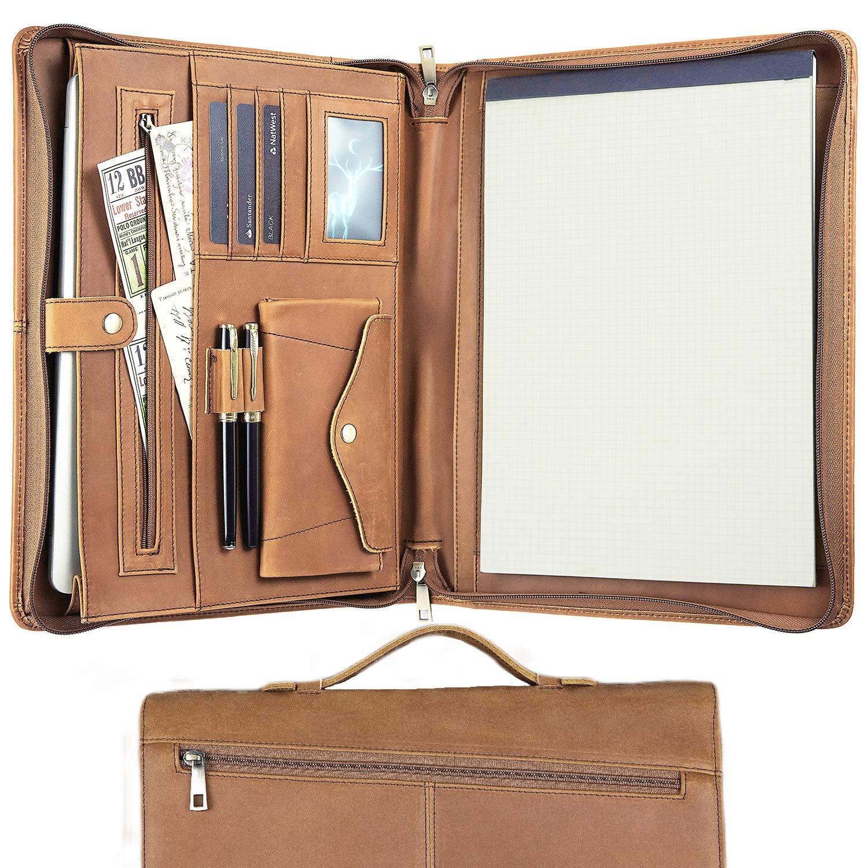 padfolio zipper resume portfolio for men  women leather