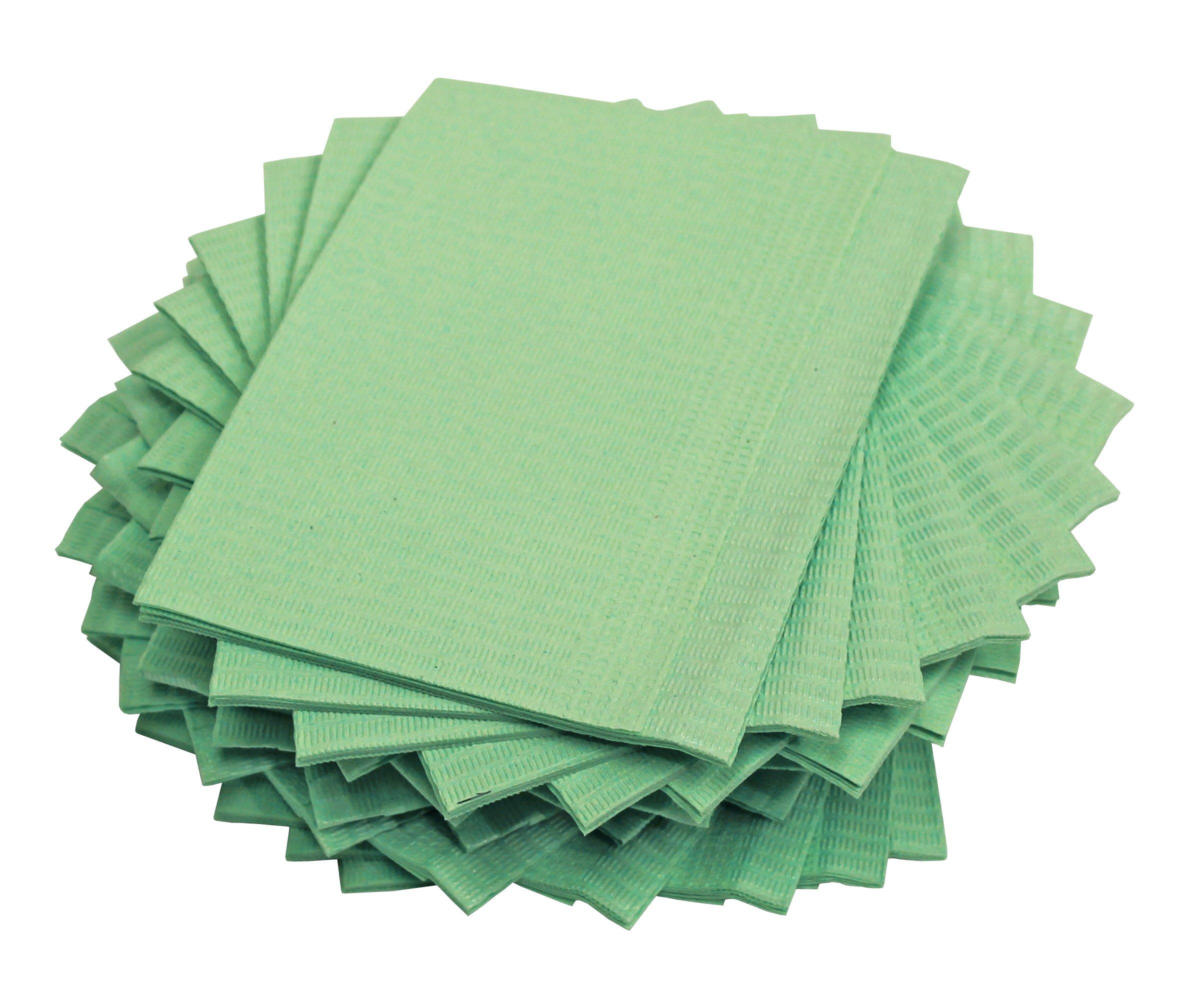 Adenna Dental Bibs/Lap Cloths, Green (Box of 500)