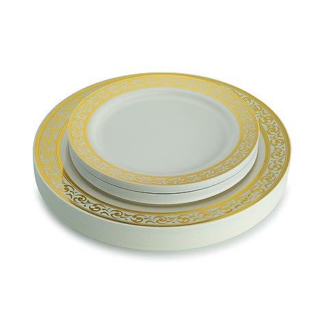 Amazoncom 40 Piece Elegant Plastic Plates Set Fancy Disposable