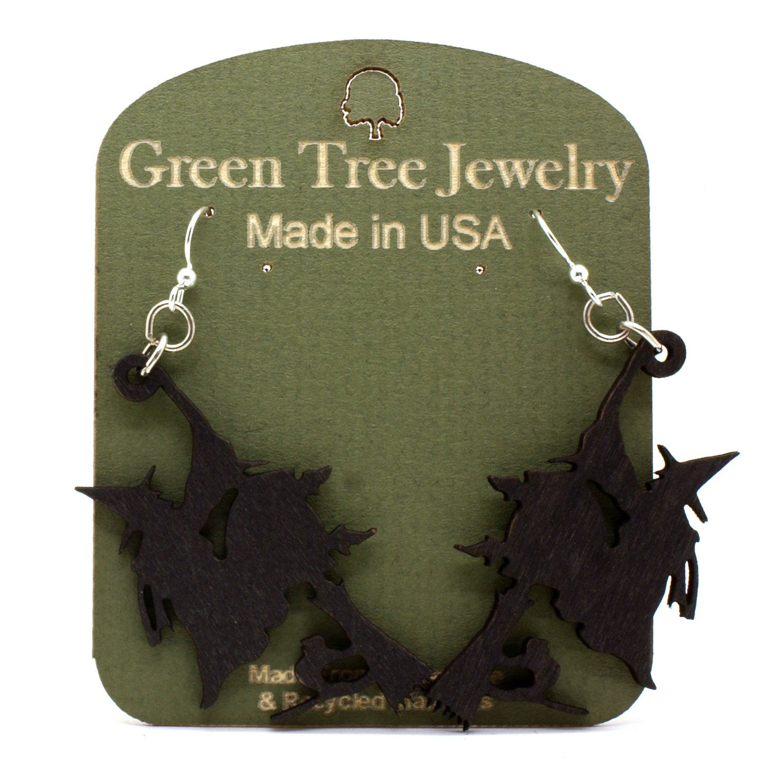 Green Tree Witch on Broomstick Renewable Natural Wood Earrings