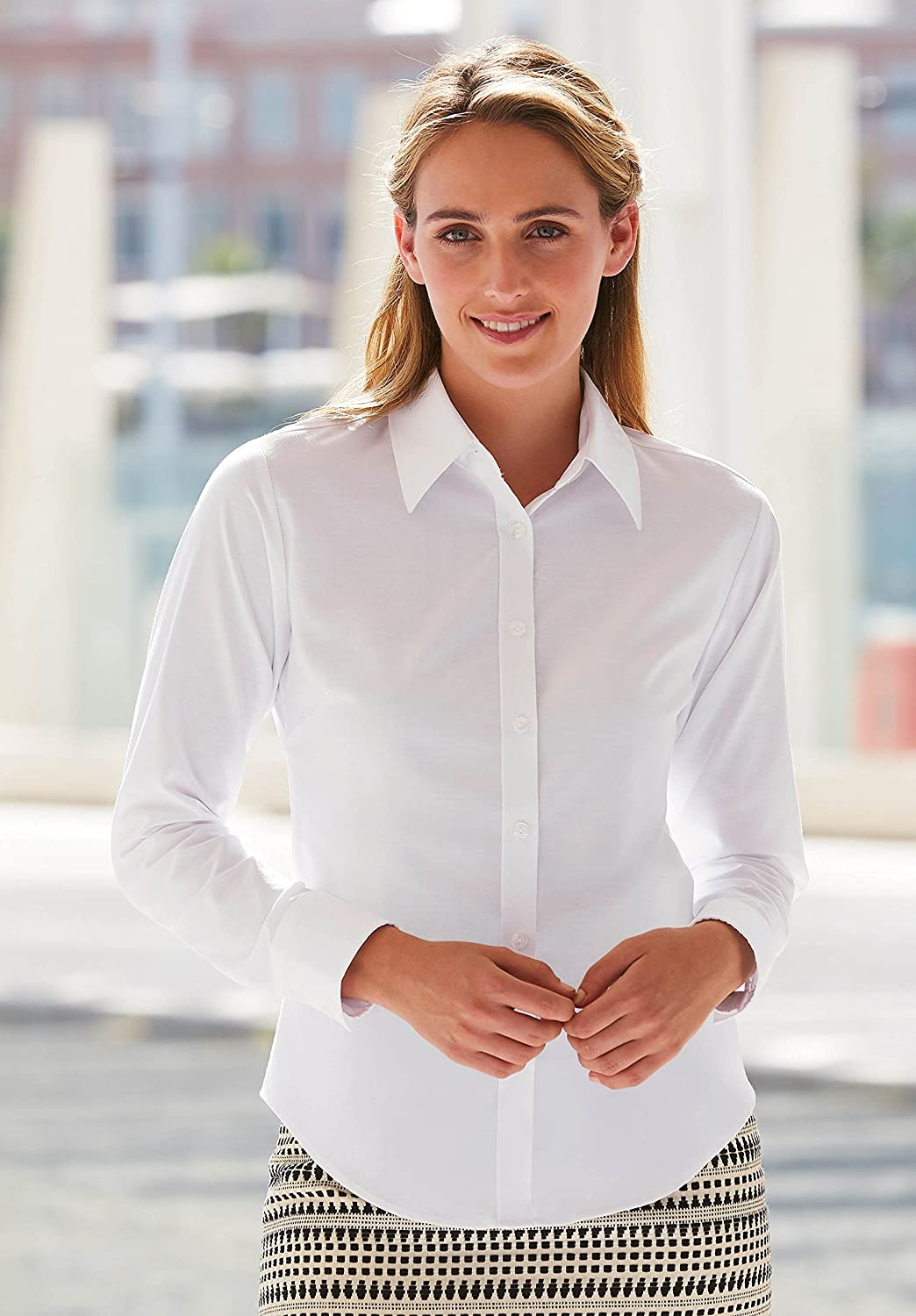 Fruit of the Loom L//SLV Oxford Blouse in