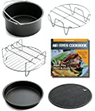 kaviatek Air Fryer Accessories For Gowise Philips And Cozyna, Fits All 3.7QT - 5.8QT, Non-stick Barrel / Pan + Metal Holder + Multi-Purpose Rack with Skewers and Silicone Mat, Cookbook Included