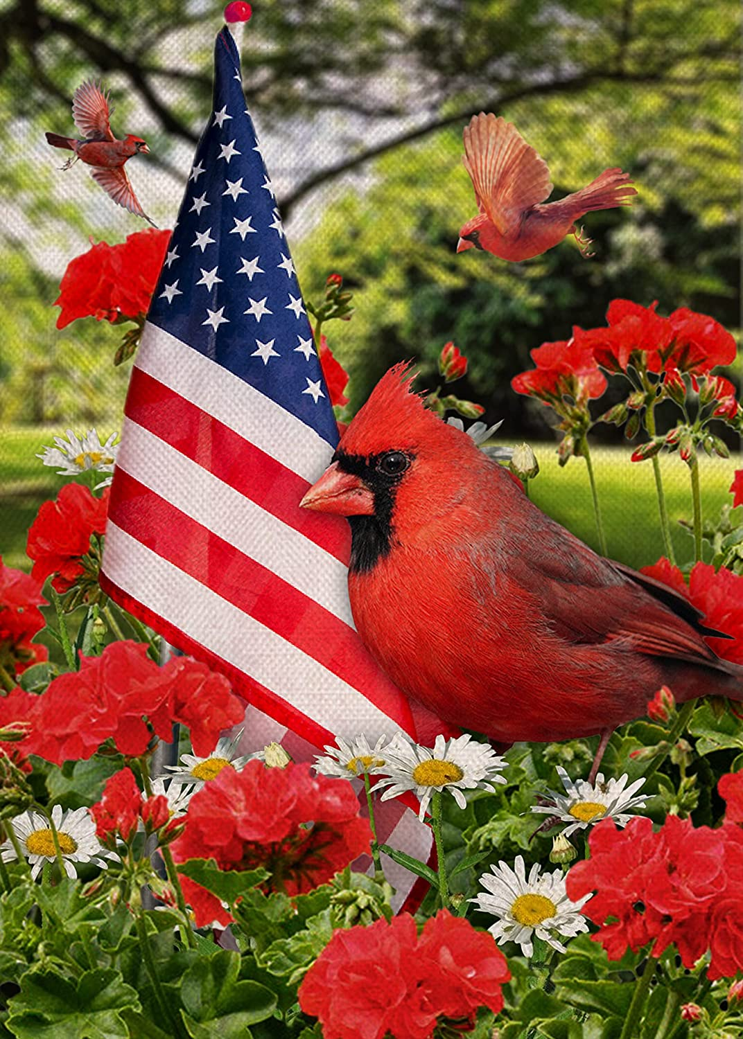 Covido Home Decorative American Cardinal Garden Flag, Summer Geranium Daisy House Yard Flower Decor Red Birds Outside Decoration, USA July 4th Patriotic Outdoor Small Burlap Flag Double Sided 12x18