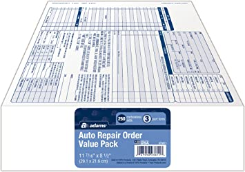 Adams Auto Parts >> Adams Garage Repair Order Forms 8 5 X 11 Inch 3 Parts 250 Count White And Canary And White Tag Gt3811