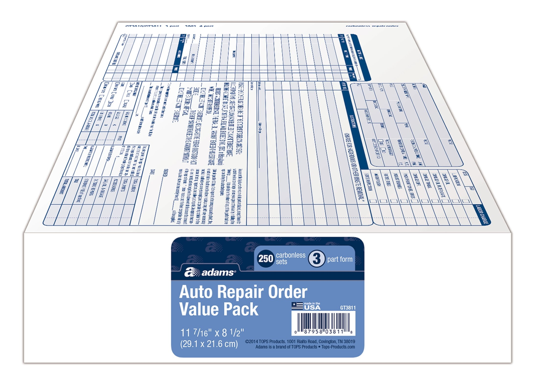 Adams Garage Repair Order Forms, 8.5 x 11 Inch, 3 Parts, 250-Count, White and Canary and White Tag (GT3811)