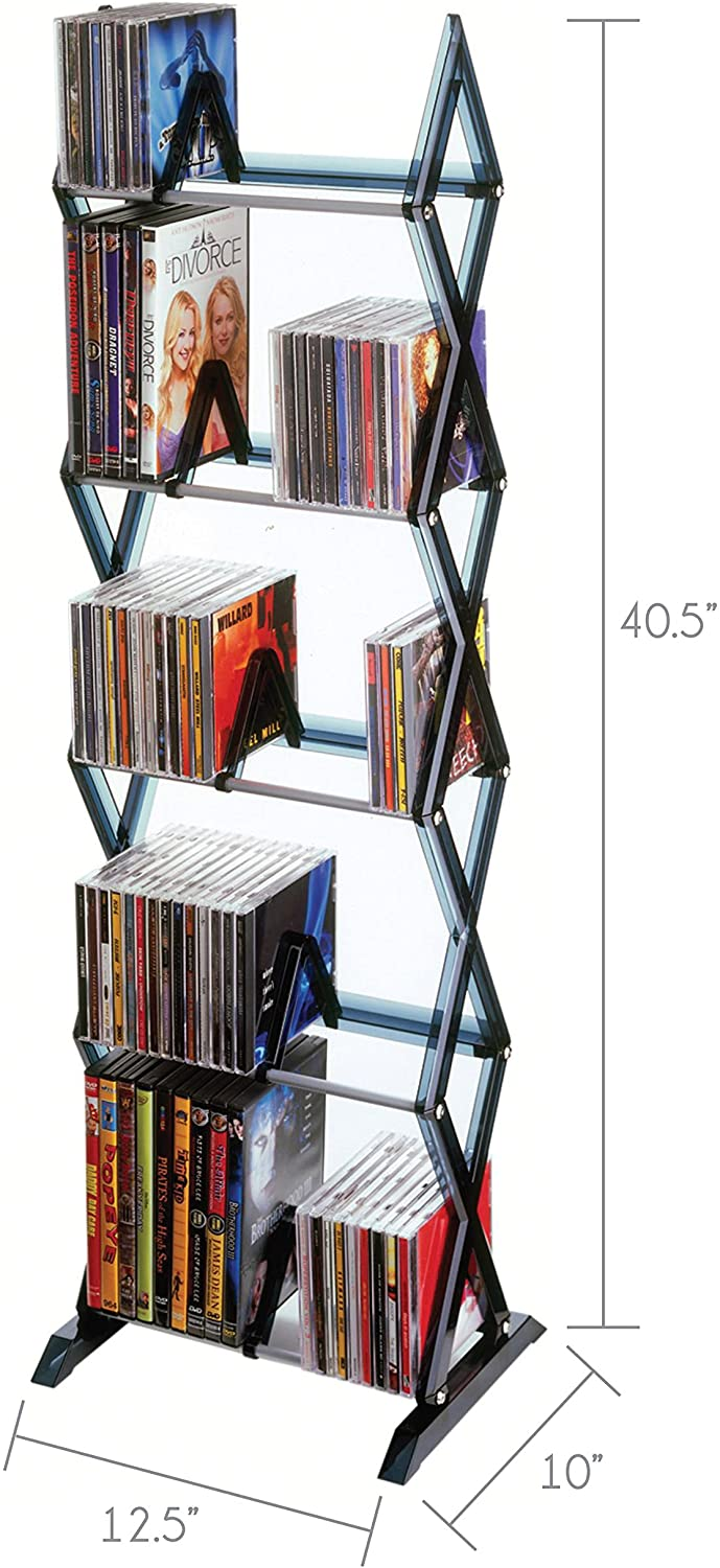Atlantic Mitsu 5-Tier Media Rack - 130 CD or 90 DVD/BluRay/Games in Clear Smoke Finish, PN64835195: Home Audio & Theater