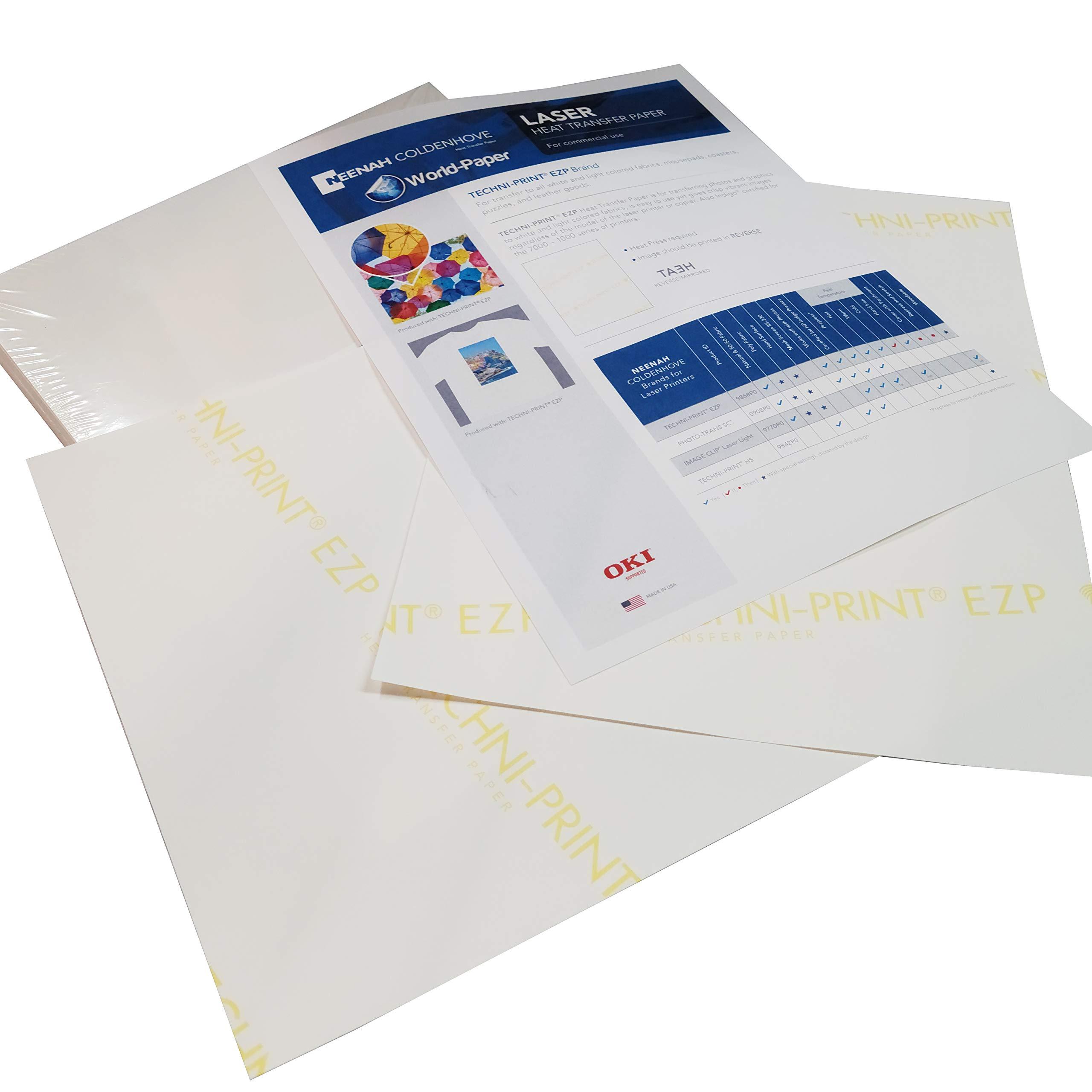 "Laser Heat Transfer Paper, for Light Fabric - Techni Print EZP- 10 Sheets - 8.5"" x 11"""