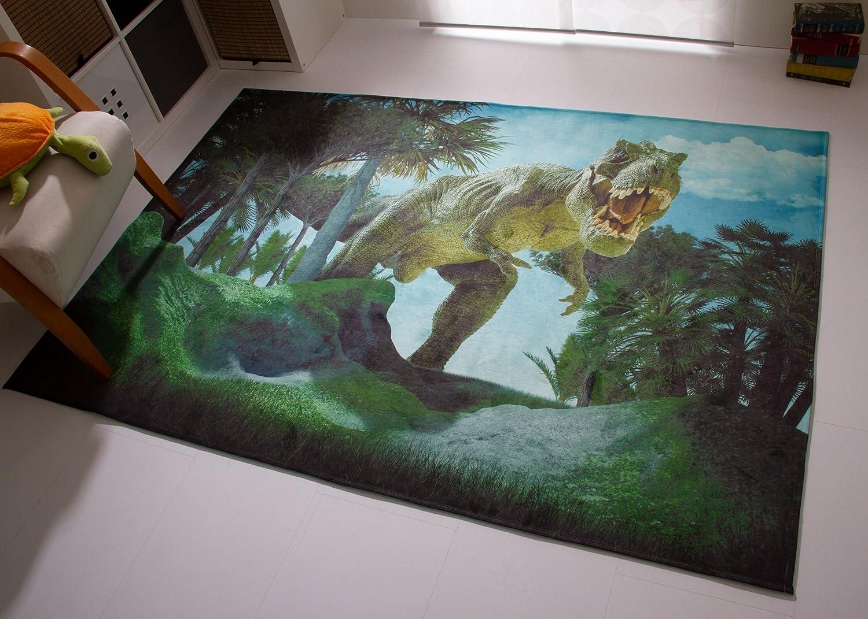 Dinosaurier Teppich Dino Kinderteppich Kinderzimmer T-Rex in grün blau, Ökotex Zertifiziert, Größe  140x200 cm