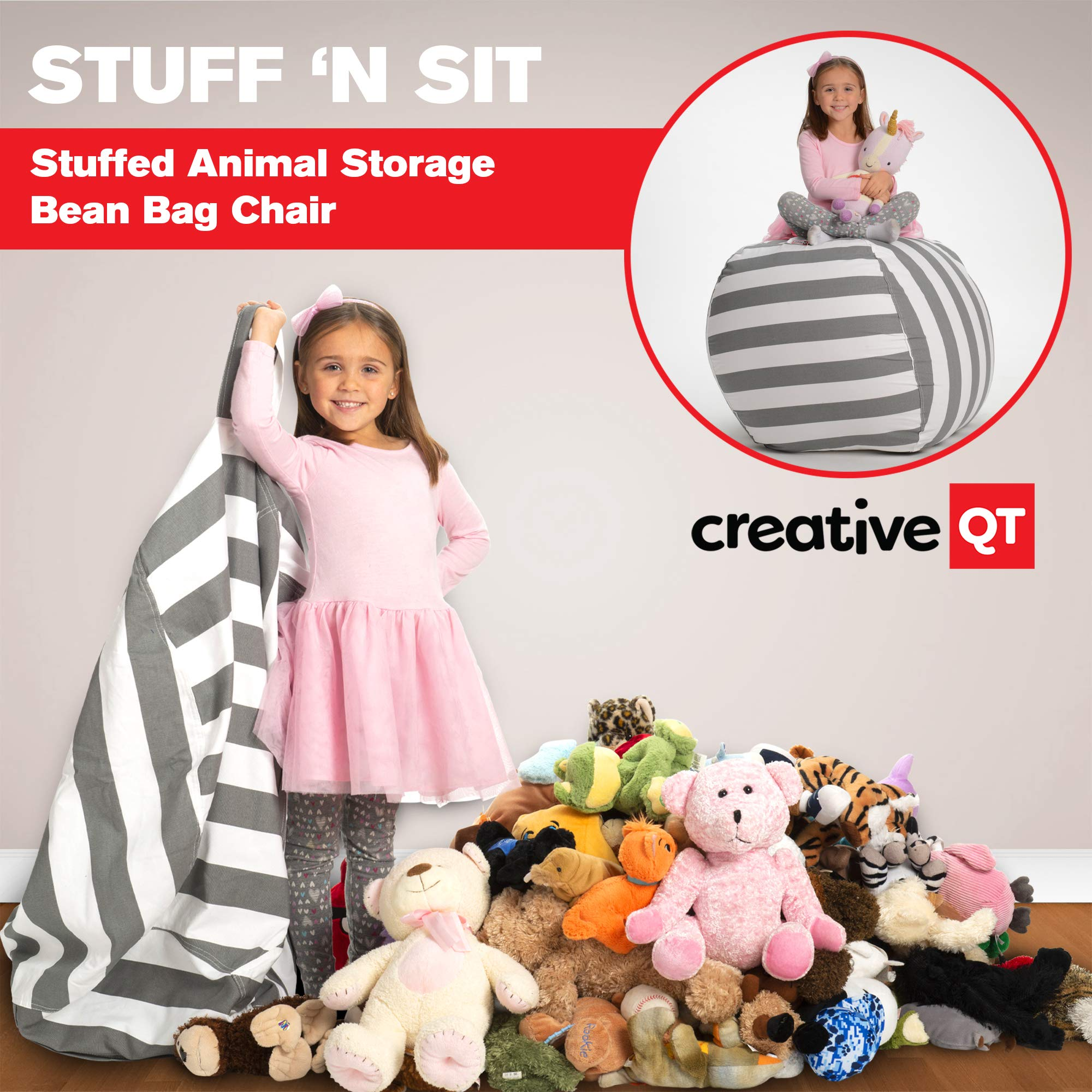 Creative QT Stuffed Animal Storage Bean Bag Chair - Extra Large Stuff 'n Sit Organization for Kids Toy Storage - Available in a Variety of Sizes and Colors (38'', Grey/White Striped) by Creative QT