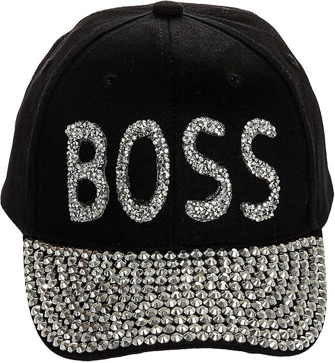013dd862ae5 Crystal Case Womens Bling Boss Embellished Adjustable Baseball Cap Hat ( Black) at Amazon Women s Clothing store