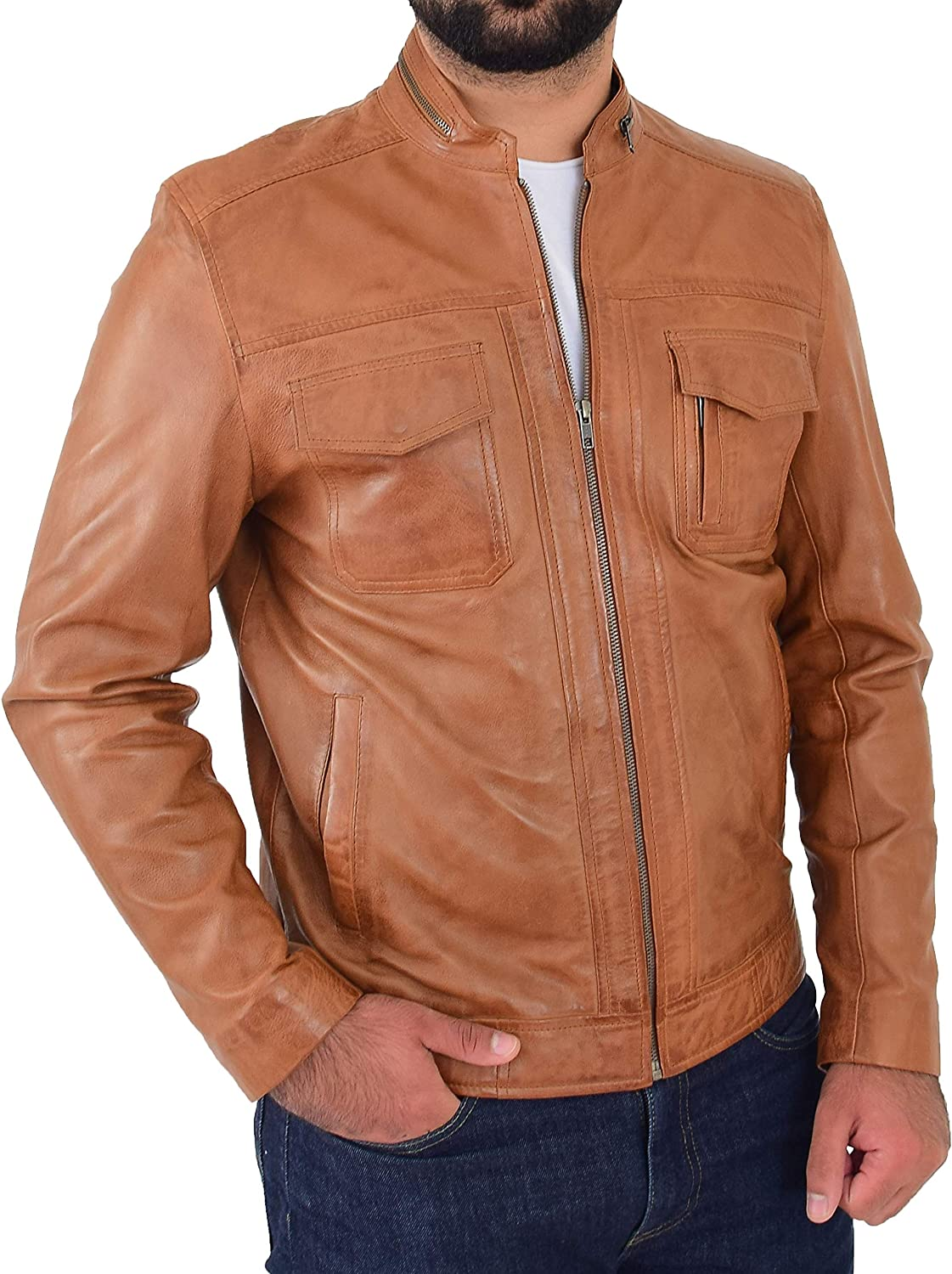 A1 FASHION GOODS Biker Leather Jacket for Mens Cognac Soft Nappa Fitted Standing Collar Zip Fasten Tats