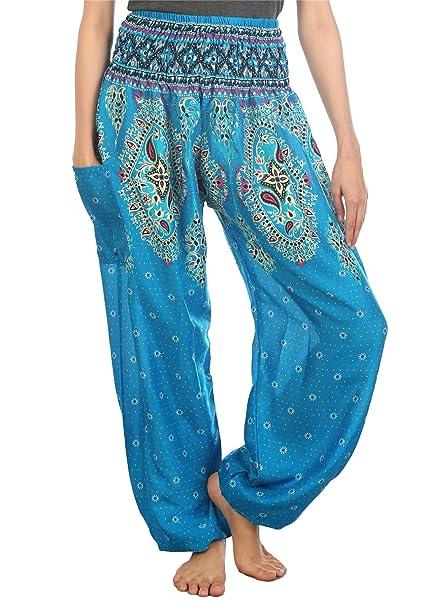 Amazon.com: LOFBAZ pantalones Harem bohemios con estampado ...