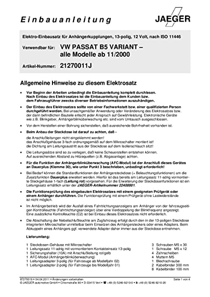 Jaeger Anhangerkupplung Schaltplan 7 Polig