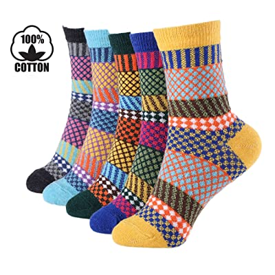 5 Pairs Winter Warm Cotton Ladies Women Socks Knitting Pure Vintage Floor Sock Bed Socks