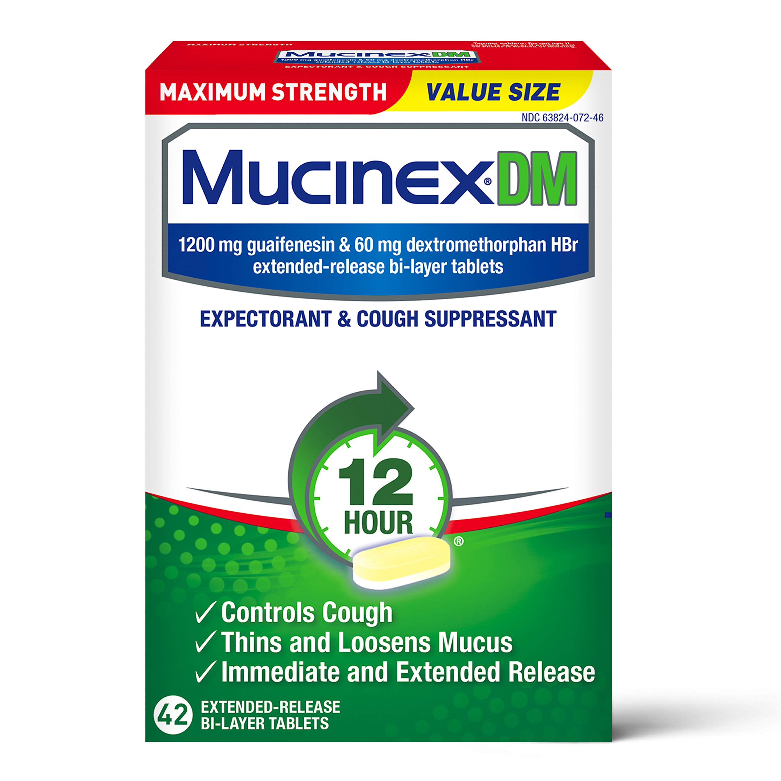 Cough Suppressant and Expectorant,Mucinex DM Maximum Strength 12 HourTablets 42ct, 1200 mg Guaifenesin,Relieves Chest Congestion,Quiets Wet and Dry Cough,#1Doctor Recommended OTC expectorant