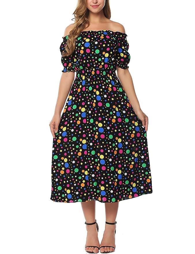 Review Zeagoo Women Sexy Off-Shoulder Polka Dot Half Sleeve Casual Long Maxi Dress