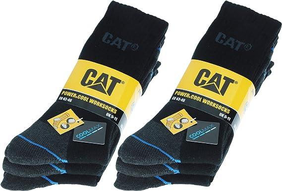 Caterpillar Power & Cool Work Socks 6 Paia Calze CAT Lavoro Uomo Antinfortunistiche in Coolmax, doppio rinforzo su Punta e Tallone, Filati di Ottima