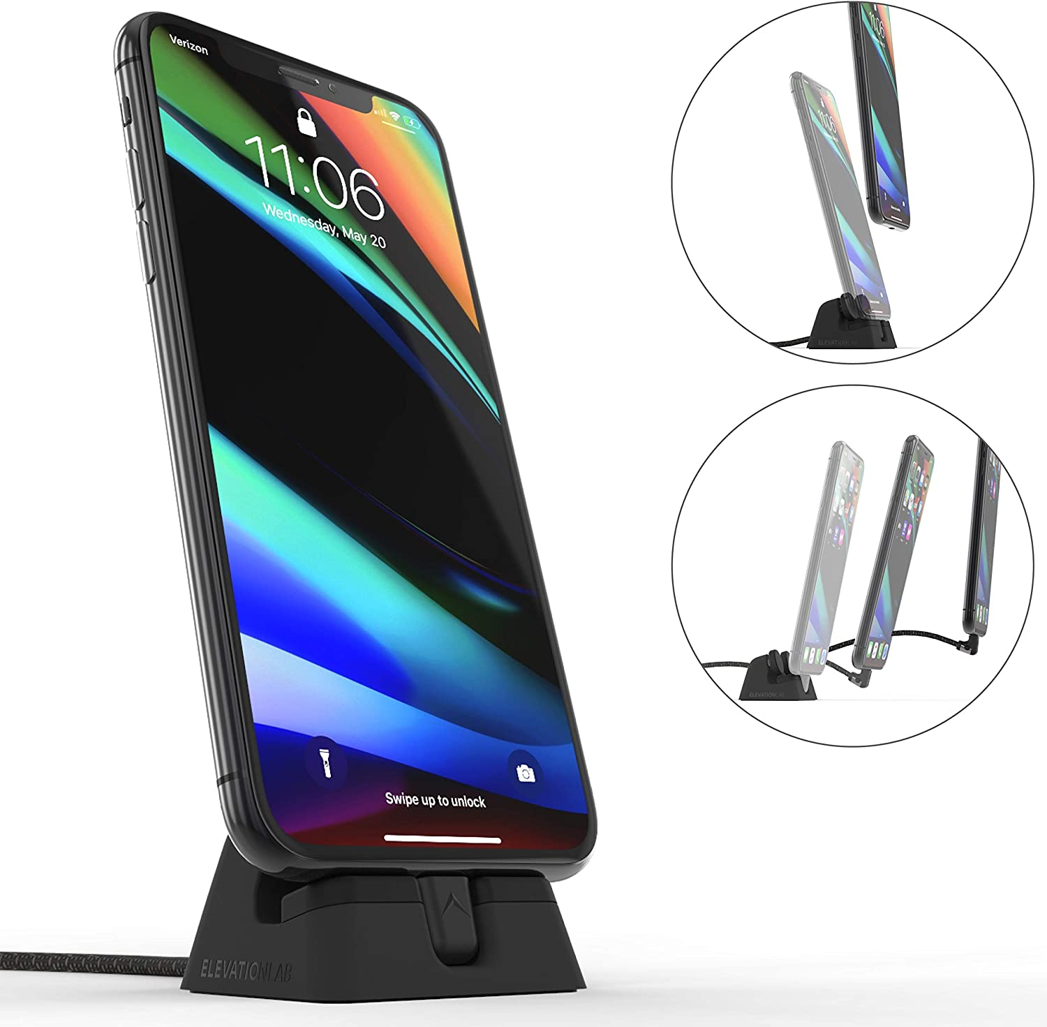 ElevationLab Cord Dock V2 - Hybrid iPhone Lightning Charging Dock & Cable, Adjustable Phone Stand Holder, Desktop Docking Station Cradle, Charge Stand, MFi Certified
