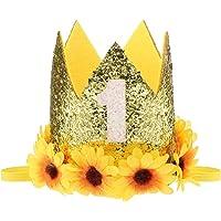Sunflower Birthday Crown 1st Birthday Sunflower Princess Tiara Crown Sunflower Headband Hat for Baby Birthday Party…