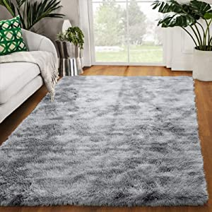 Zareas Modern Luxury Fluffy Bedroom Rugs for Living Room, Soft Fuzzy Shaggy Fur Area Rugs for Kids Room Dorm Nursery Indoor Plush Furry Comfy Accent Home Decor Floor Throw Carpet Mat 4'x5.9' (Grey)