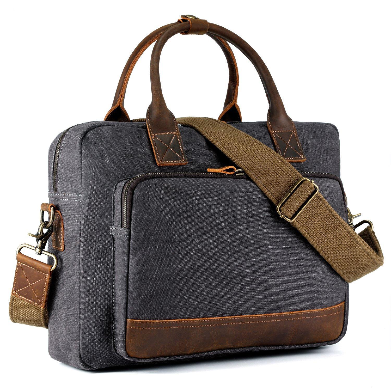Kattee Men's Canvas Leather Briefcase 14'' Laptop Tote Handbag Travel Shoulder Bag