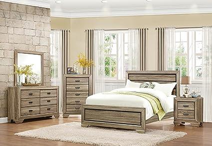 Bainbridge 5 Piece California King Rustic Bedroom Set In Beechwood