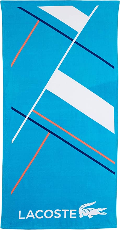 """Lacoste Beach Towel Pool 100/% Cotton 36x72/""""Authentic Iconic Logo NWT Blue Ocean"""