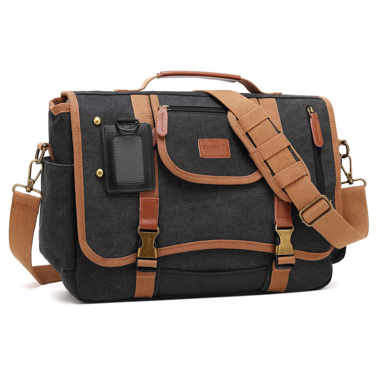CoolBELL Messenger Bag Briefcase Shoulder Bag Laptop Case Sport Handbag Business Briefcase Multi-Functional Travel Bag Fits 15.6 Inch Laptop for Men/Women (Canvas Black)