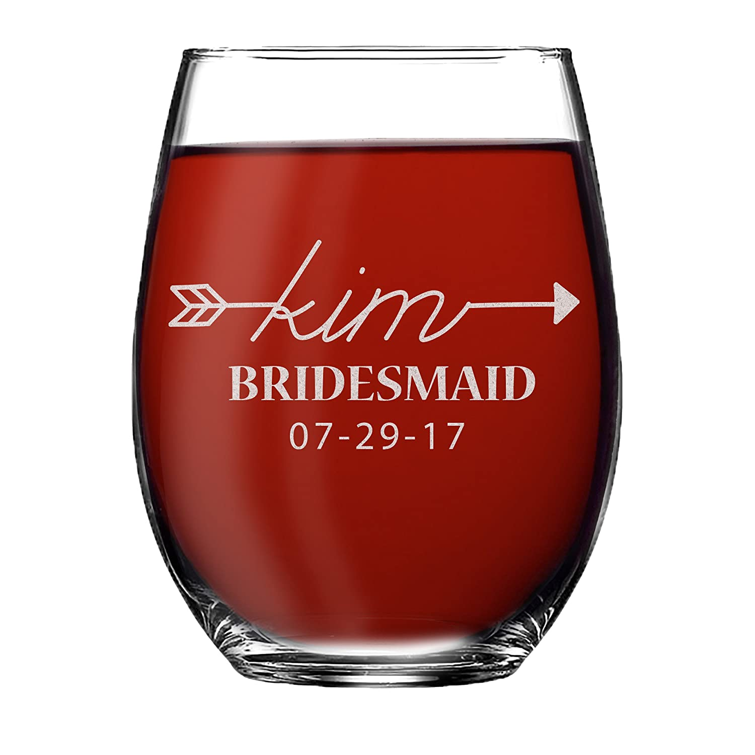 Monogrammed Personalized Stemless Wine Glass Bridesmaid Gifts, Engraved for Free