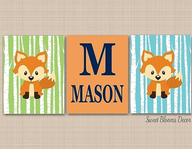 Amazon.com: Fox Nursery Decor,Fox Nursery Wall Art,Green Blue Fox ...