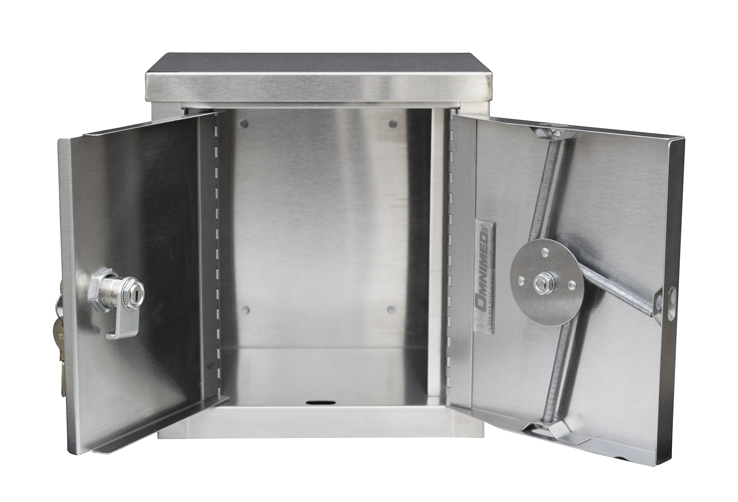 Double Door Mini Stainless Steel Narcotic Cabinet (9''H X 8''W X 5.75''D)