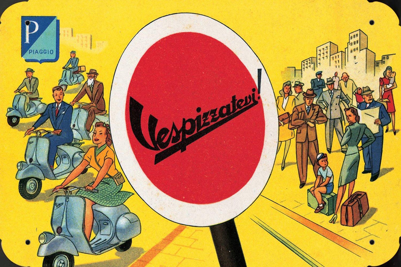 Piaggio Vespa Scooter Vespizzatevi metal poster cartel ...