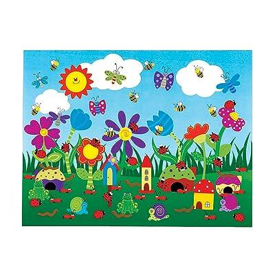 Fun Express - Flower Garden Sticker Scene - Stationery - Stickers - Make - A - Scene (Lrg) - 12 Pieces: Toys & Games