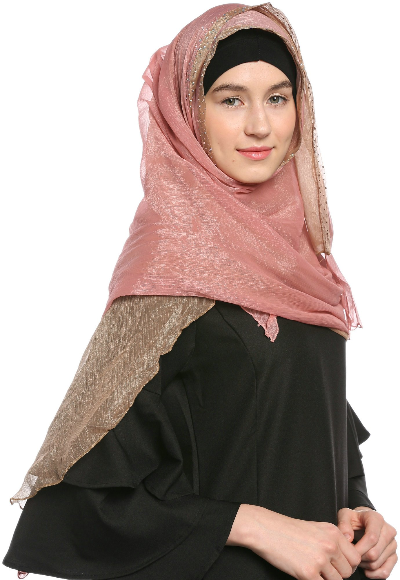 Ababalaya Lace Decorated Wedding Hijab Islamic Hijab,Color3 by Ababalaya (Image #5)