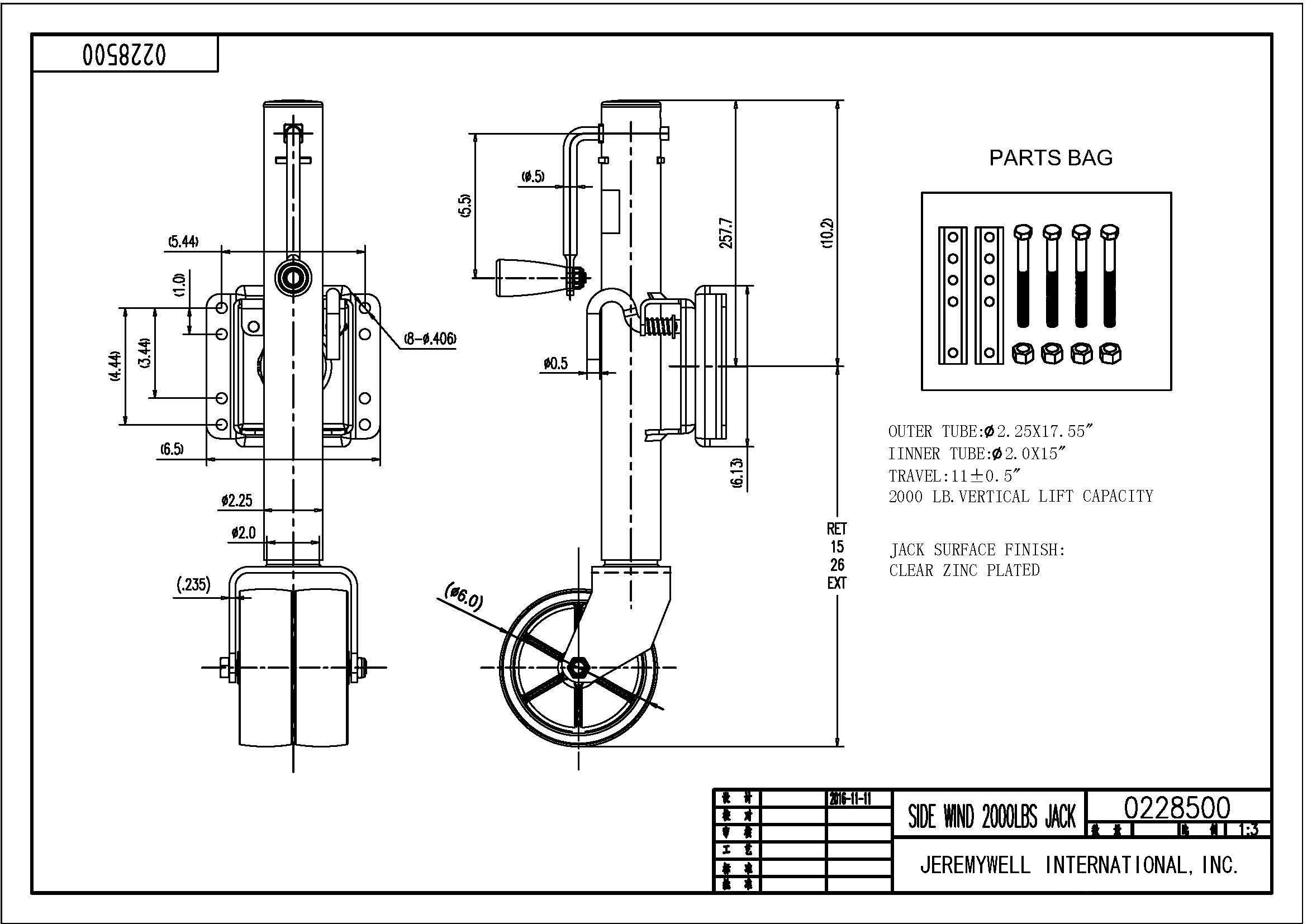 Jeremywell Swivel Trailer Jack Double Wheel 2000 lb Tongue Twin Boat Towing 26'' Length Lift by Jeremywell (Image #6)