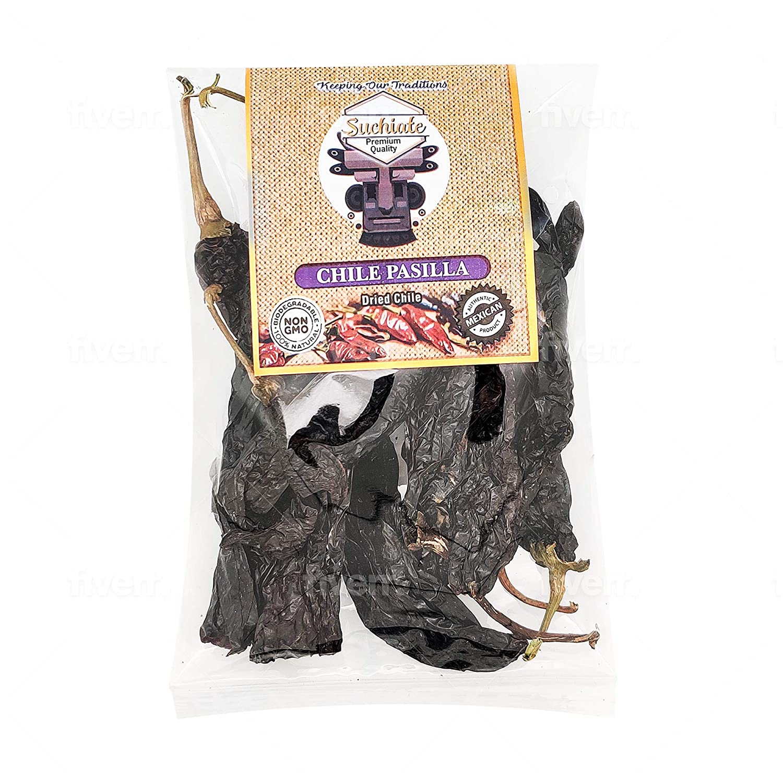 Suchiate Dried Pasilla Chili Peppers (Chile Negro) 4oz (113g) Resealable Bag