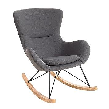 Design Schaukelstuhl SCANDINAVIA SWING Stoff Dunkelgrau Schaukelsessel Sessel  Stuhl Wohnzimmersessel
