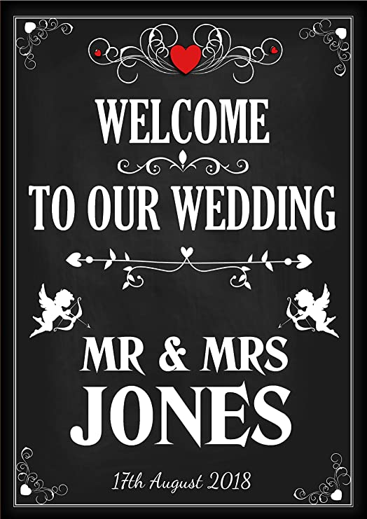 Poster Chalkboard Save The Date Vintage Personalised Wedding Sign