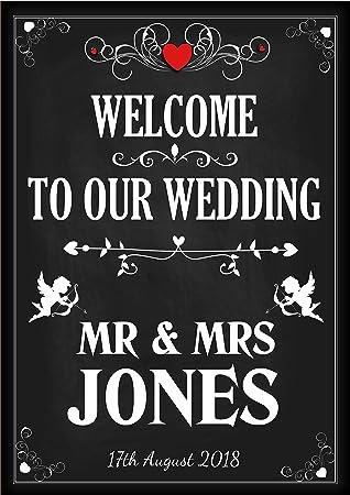 Personalizado Vintage Bienvenido a nuestra boda cartel ...
