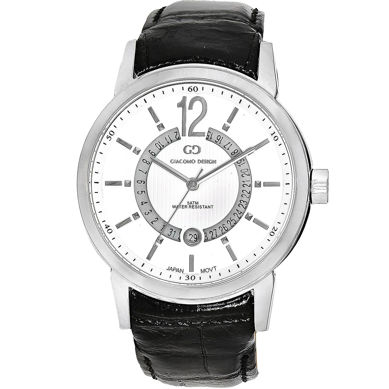 Giacomo Design GD05002 Herren-Armbanduhr Lederband Datum