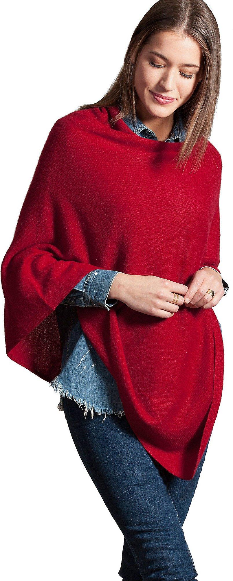 Patricia Fine Cashmere Poncho, RED VELVET, Size 1 Size