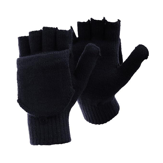 33565bc52 FLOSO - Guantes sin dedos convertibles en manoplas de invierno térmicos con  capucha para hombre caballero (Talla Única/Azul marino): Amazon.es: Ropa y  ...