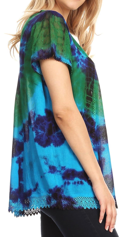 Sakkas Josea avslappnad passform knytfärgad broderad kräftmössa ärmblus | täcka upp Turquoise / Green