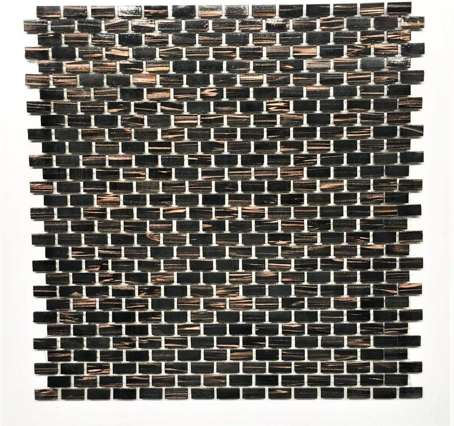 - Mini Brick Copper Bronze Fleck Glimmer Glass Mosaic Tile
