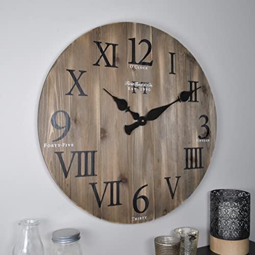 FirsTime Co. Rustic Barnwood Wall Clock, 24 , Weathered Barn Wood