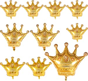 10 Pieces Gold Crown Balloons Aluminum Foil Crown Balloons for Baby Shower Wedding Birthday Party Accessories, 4 Sizes
