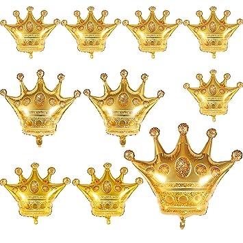 Amazon.com: 10 globos de aluminio de corona dorados para ...