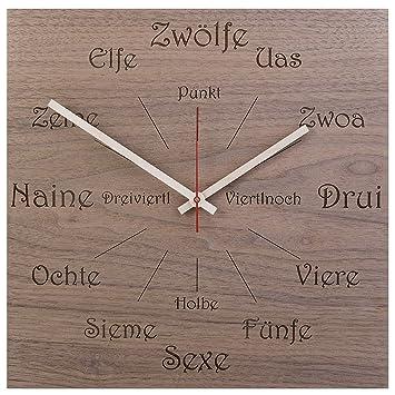 Huamet U1100 Holz Wanduhr Nuss Dialekt Eckig