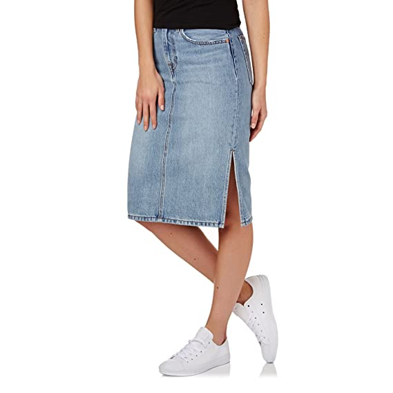 Levi s Womens Side Slit Skirt in Blue Waves  Levis  Amazon.co.uk ... 569bbf07f