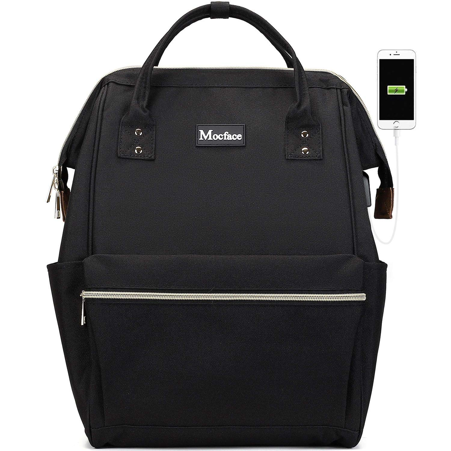 MOCFACE Laptop Backpack 15.6 Inch Stylish School Backpack Casual Daypack Work Bag with USB charging Port for Women Men